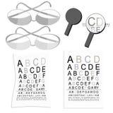 Καθορισμένη γραφική παράσταση των γυαλιών της άποψης στο μέτρο και πιό magnifier διάνυσμα Στοκ Φωτογραφία