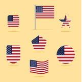 Καθορισμένη διανυσματική απεικόνιση εικονιδίων αμερικανικών σημαιών διανυσματική απεικόνιση