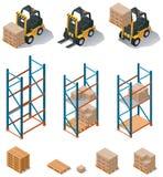 καθορισμένη διανυσματική αποθήκη εμπορευμάτων εικονιδίων εξοπλισμού ελεύθερη απεικόνιση δικαιώματος