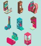 Καθορισμένη διανυσματική επίπεδη isometric απεικόνιση εικονιδίων μηχανών παιχνιδιών Arcade Στοκ Εικόνες