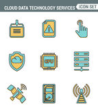 Καθορισμένη εξαιρετική ποιότητα γραμμών εικονιδίων των υπηρεσιών τεχνολογίας στοιχείων σύννεφων, σφαιρική σύνδεση Σύγχρονο εικονο Στοκ φωτογραφία με δικαίωμα ελεύθερης χρήσης