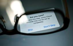 Καθορισμένη επικοινωνία ιδιωτικότητας στοιχείων ICloud Στοκ εικόνες με δικαίωμα ελεύθερης χρήσης