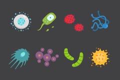 Καθορισμένη ζωηρόχρωμη διανυσματική απεικόνιση ιών Βακτηρίδια και μικροοργανισμοί στο ύφος κινούμενων σχεδίων Στοκ εικόνα με δικαίωμα ελεύθερης χρήσης