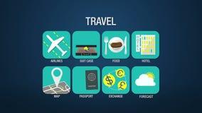 Καθορισμένη ζωτικότητα εικονιδίων ταξιδιού, αερογραμμή, βαλίτσα, τρόφιμα, ξενοδοχείο, χάρτης, διαβατήριο, ανταλλαγή, πρόγνωση και διανυσματική απεικόνιση