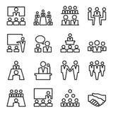 Καθορισμένη διανυσματική απεικόνιση εικονιδίων γραμμών συνεδρίασης & διασκέψεων Στοκ Φωτογραφίες