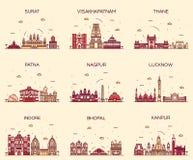 Καθορισμένη διανυσματική απεικόνιση Ινδικών πόλεων γραμμική Στοκ Εικόνες