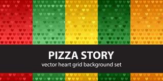 Καθορισμένη ιστορία πιτσών σχεδίων καρδιών άνευ ραφής διάνυσμα ανασκ& Στοκ φωτογραφίες με δικαίωμα ελεύθερης χρήσης