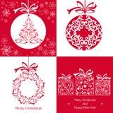 Καθορισμένη κάρτα Χριστουγέννων με την ένωση του παιχνιδιού Λευκό στην κόκκινη ανασκόπηση VE Στοκ Εικόνες