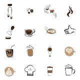 Καθορισμένη καφετερία φασολιών καφέ εικονιδίων καφέ στοκ εικόνες