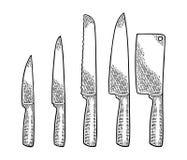 Καθορισμένη κουζίνα knifes Διανυσματική μαύρη εκλεκτής ποιότητας χάραξη Στοκ Φωτογραφία