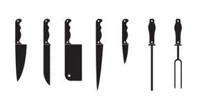 Καθορισμένη μαύρη σκιαγραφία μαχαιριών Σύνολο διαφορετικών εικονιδίων σκιαγραφιών knifes μαύρων που απομονώνονται στο άσπρο υπόβα Στοκ Εικόνα