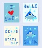 Καθορισμένη μπλε κάρτα καρχαριών για τα γενέθλια Ο χαρακτήρας κινουμέ διανυσματική απεικόνιση