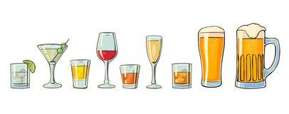 Καθορισμένη μπύρα γυαλιού, ουίσκυ, κρασί, τζιν, ρούμι, tequila, κονιάκ, σαμπάνια, κοκτέιλ διανυσματική απεικόνιση