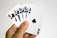 καθορισμένη νίκη πόκερ χεριών Στοκ Εικόνα