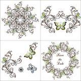 Καθορισμένη πεταλούδα, floral στοιχεία, στεφάνι Απεικόνιση για το greetin διανυσματική απεικόνιση