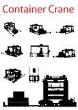 καθορισμένη σκιαγραφία γερανών εμπορευματοκιβωτίων στοκ φωτογραφίες