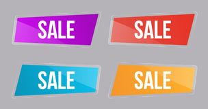 Καθορισμένη στιλπνή πώληση εμβλημάτων, κουμπιά επιλογής χρωμάτων για τις μετοχές για τις περιοχές, ιπτάμενα διαφήμισης και πίνακε διανυσματική απεικόνιση