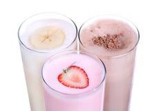 Καθορισμένη συλλογή παγωτού γεύσης σοκολάτας Milkshakes στοκ εικόνες