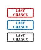 Καθορισμένη σφραγίδα τελευταίας ευκαιρίας που απομονώνεται στο άσπρο υπόβαθρο διανυσματική απεικόνιση
