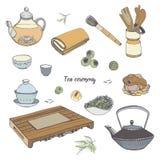 Καθορισμένη τελετή τσαγιού με τα διάφορα παραδοσιακά εργαλεία Teapot, κύπελλα, gaiwan Ζωηρόχρωμη συρμένη χέρι απεικόνιση διανυσματική απεικόνιση