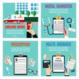 4 καθορισμένη υγειονομική περίθαλψη ιατρικής Αυτοκίνητο ασθενοφόρων κλήσης μέσω του κινητού τηλεφώνου, κλήση έκτακτης ανάγκης ένν Στοκ Εικόνες