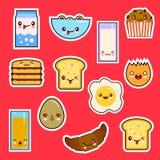 Καθορισμένη χαριτωμένη συγκίνηση προσώπων τροφίμων προγευμάτων Kawaii απεικόνιση αποθεμάτων
