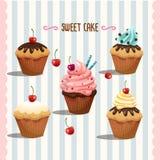 Καθορισμένη eps10 απεικόνιση Cupcakes Απεικόνιση αποθεμάτων