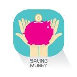 Καθορισμένη yo τράπεζα διανυσματική απεικόνιση Piggy χρημάτων χεριών Στοκ Εικόνα