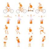 Καθορισμένοι ηλικιωμένοι άνθρωποι που κάνουν τις ασκήσεις διανυσματική απεικόνιση