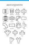 Καθορισμένοι σωλήνες και τμήματα εικονιδίων απεικόνιση αποθεμάτων