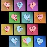 Καθορισμένοι χαμόγελου ειδώλων εικονιδίων καρδιών βαλεντίνοι σκιών συγκίνησης επίπεδοι Στοκ Εικόνες