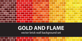 Καθορισμένοι χρυσός και φλόγα σχεδίων τούβλου Διανυσματική άνευ ραφής ΤΣΕ τουβλότοιχος Στοκ Εικόνες