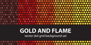 Καθορισμένοι χρυσός και φλόγα σχεδίων σημείων Πόλκα Στοκ εικόνα με δικαίωμα ελεύθερης χρήσης
