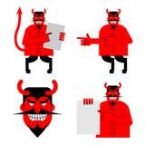 Καθορισμένοι satana και διάβολος Το Daemon σε διαφορετικό θέτει Τρομακτικός κόκκινος δαίμονας ελεύθερη απεικόνιση δικαιώματος