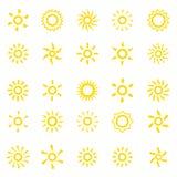 καθορισμένος ήλιος εικονιδίων στοιχείων σχεδίου Στοκ φωτογραφία με δικαίωμα ελεύθερης χρήσης