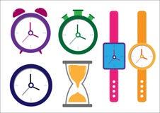 καθορισμένος επίπεδος χρόνος ρολογιών εικονιδίων Στοκ Εικόνα