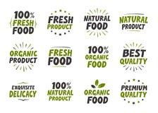 καθορισμένος διανυσματικός δονούμενος πώλησης ετικετών χρώματος μεγαλοπρεπής Ετικέττες και στοιχεία οργανικής τροφής για το γεύμα ελεύθερη απεικόνιση δικαιώματος