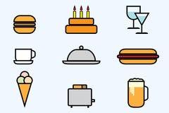 καθορισμένος Ιστός εικονιδίων τροφίμων ποτών Στοκ Εικόνα
