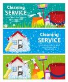 Καθορισμένος καθαρισμός υπηρεσιών εμβλημάτων Ένα καθαρά σπίτι και ένα γραφείο διάνυσμα ελεύθερη απεικόνιση δικαιώματος