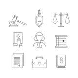 Καθορισμένος κατάλληλος εικονιδίων νόμου και δικαιοσύνης για τη γραφική παράσταση πληροφοριών, ιστοχώροι Στοκ φωτογραφία με δικαίωμα ελεύθερης χρήσης