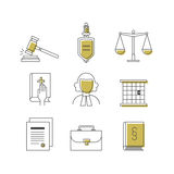 Καθορισμένος κατάλληλος εικονιδίων νόμου και δικαιοσύνης για τη γραφική παράσταση πληροφοριών, ιστοχώροι Στοκ Εικόνα
