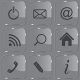καθορισμένος λαμπρός Ιστός γυαλιού κουμπιών διανυσματική απεικόνιση