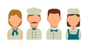 Καθορισμένος μάγειρας χαρακτήρα εικονιδίων Σερβιτόρος, αρχιμάγειρας, σερβιτόρα, Στοκ εικόνα με δικαίωμα ελεύθερης χρήσης