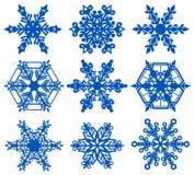 Καθορισμένος μπλε snowflake πάγος κρυστάλλου απεικόνιση αποθεμάτων