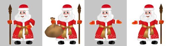 Καθορισμένος ρωσικός παγετός Άγιου Βασίλη ή πατέρων γνωστός επίσης ως Ded Moroz στο κόκκινο παλτό γουνών Άγιος Βασίλης, Άγιος Nic ελεύθερη απεικόνιση δικαιώματος