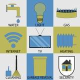 Καθορισμένος σύγχρονος εικονιδίων οικιακών υπηρεσιών χρησιμοτήτων Στοκ φωτογραφία με δικαίωμα ελεύθερης χρήσης