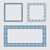 Καθορισμένος τετραγωνικός διακοσμητικός εθνικός πλαισίων επίσης corel σύρετε το διάνυσμα απεικόνισης Στοκ Εικόνες