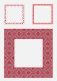 Καθορισμένος τετραγωνικός διακοσμητικός εθνικός πλαισίων επίσης corel σύρετε το διάνυσμα απεικόνισης Στοκ Εικόνα
