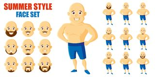 Καθορισμένος χαρακτήρας κινουμένων σχεδίων προσώπου ατόμων θερινού ύφους Στοκ εικόνες με δικαίωμα ελεύθερης χρήσης