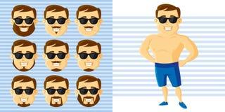 Καθορισμένος χαρακτήρας κινουμένων σχεδίων προσώπου ατόμων θερινού ύφους Στοκ φωτογραφία με δικαίωμα ελεύθερης χρήσης